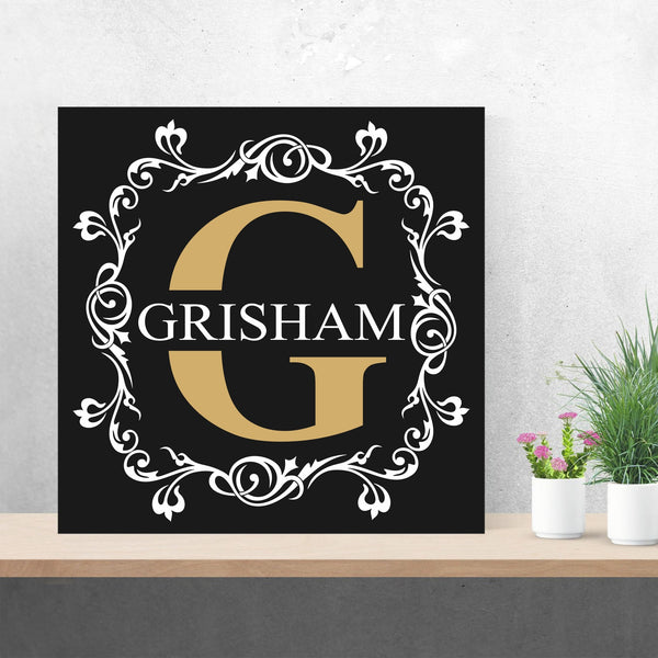 Fancy Monogram Painting Hand Painted Canvas Wedding Gift