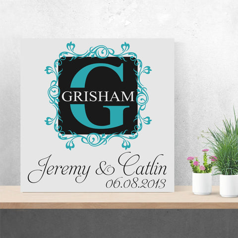 Fancy Save the Date Monogram | Hand Painted Canvas | Wedding Gift