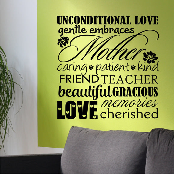 Family Wall Decal Mother Word Collage Sentimental Vinyl Lettering