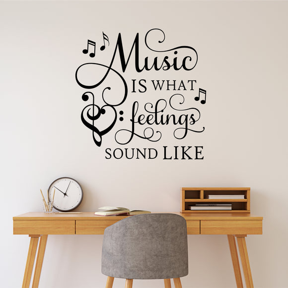 music is feelings musical wall decal