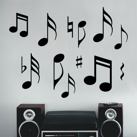 Music Wall Decal Assorted Musical Notes Classroom Vinyl Art