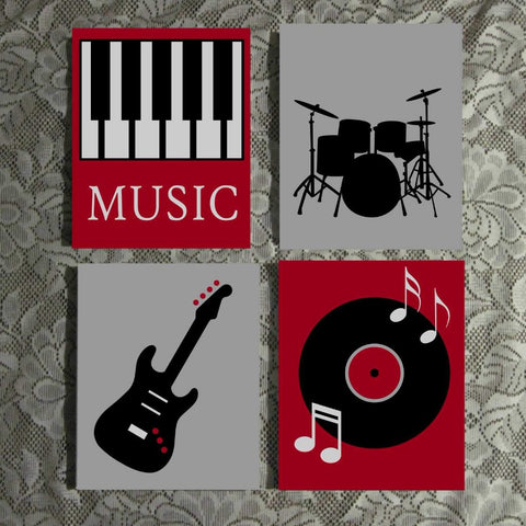 Music Themed Wall Art | Hand Painted Canvas | Music Room Decor