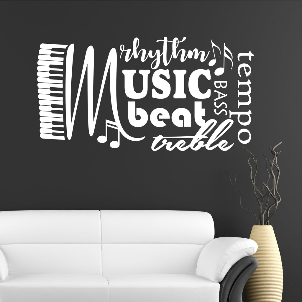 Musical Word Collage | Music Decals | Vinyl Wall Lettering