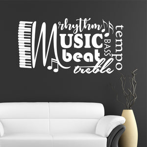 Wall Decal Music Word Collage