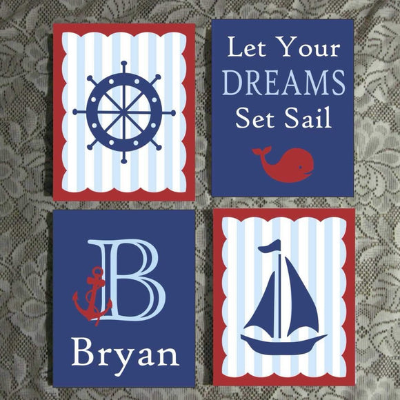 Hand Painted Nursery Canvas Set Custom Nautical Dreams Set Sail Art