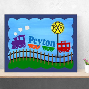 hand painted nursery train name canvas