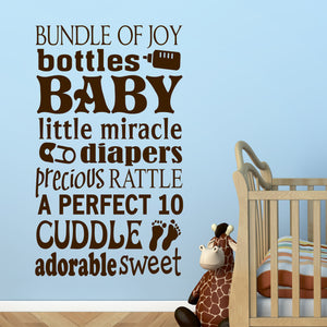 Wall Decal Baby Word Collage