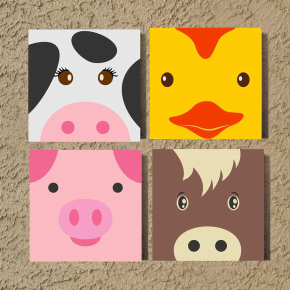 Hand Painted Nursery Canvas Set Farm Animals Kids Wall Art