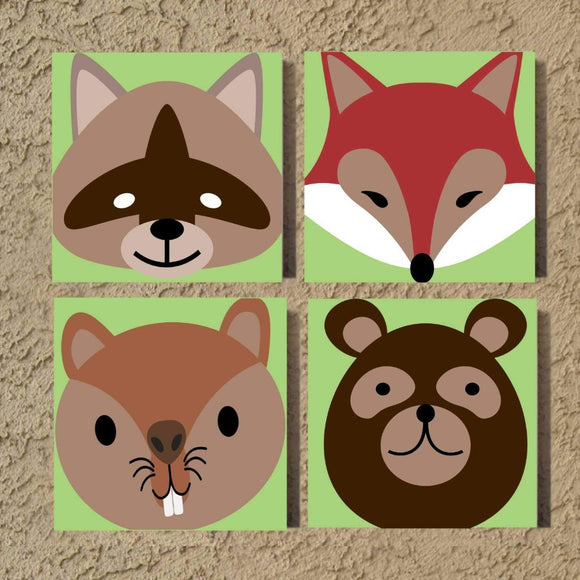 nursery forest animals canvas set