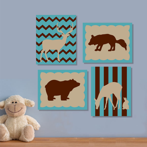 nursery forest silhouettes canvas set