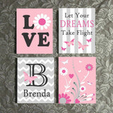 Hand Painted Nursery Canvas Set Custom Girl Butterfly Dreams