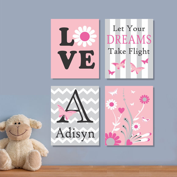 nursery custom butterfly canvas set