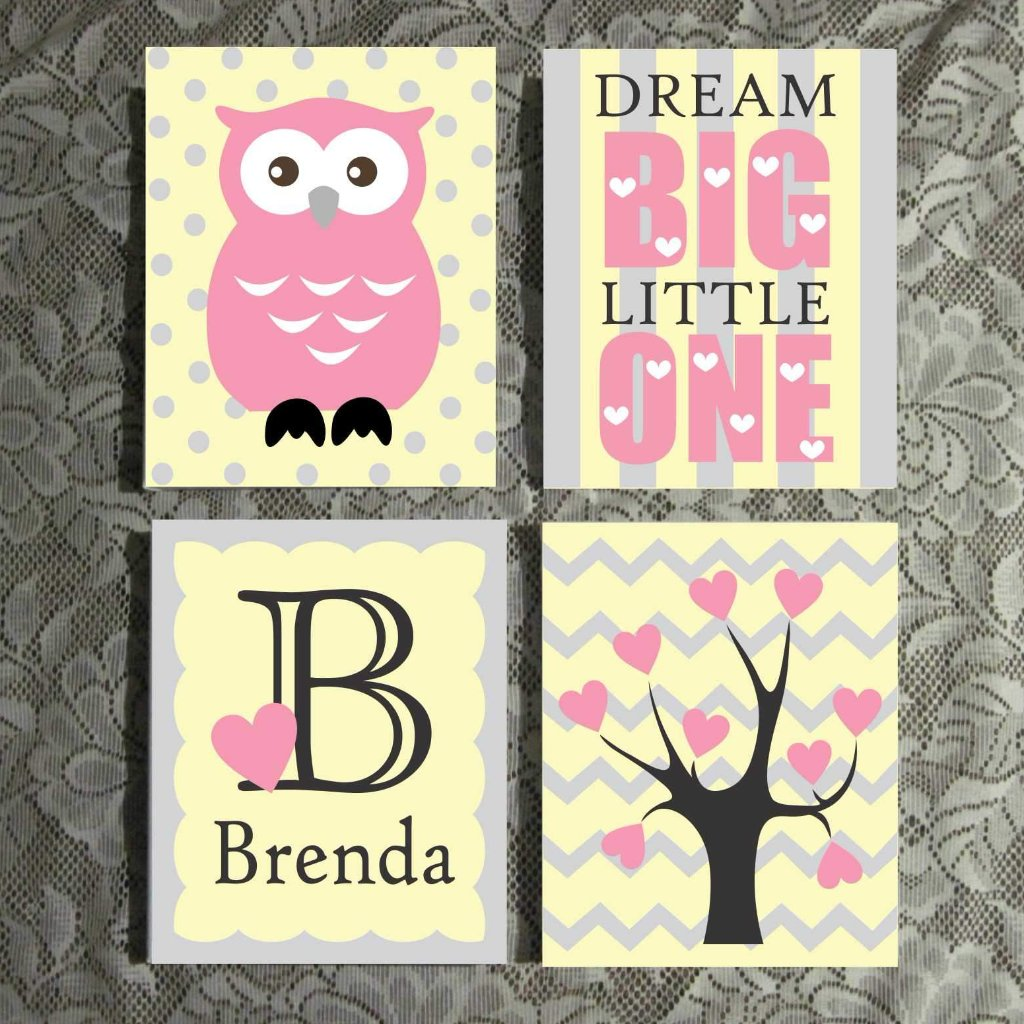 sc 1 st  WallsThatTalk & Nursery Owl Theme | Hand Painted Canvas | Custom Name Wall Art