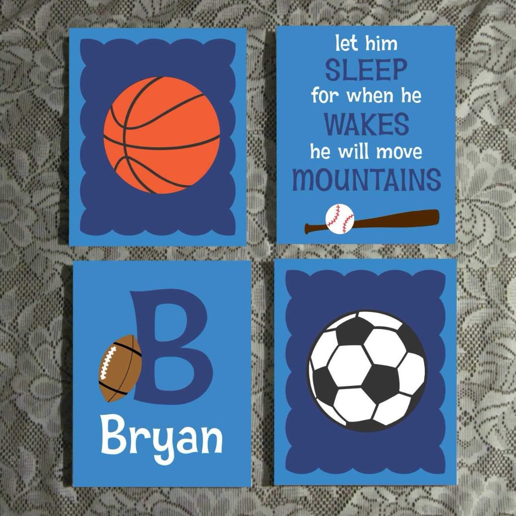 Sports Theme Nursery Art | Hand Painted Canvas Set | Custom Wall Art