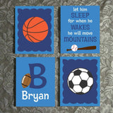 Hand Painted Nursery Canvas Set Custom Boy Sports Theme