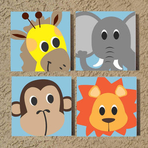 nursery zoo animals hand painted canvas