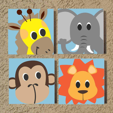 Nursery Wall Art | Zoo Animal Faces | Hand Painted Canvas