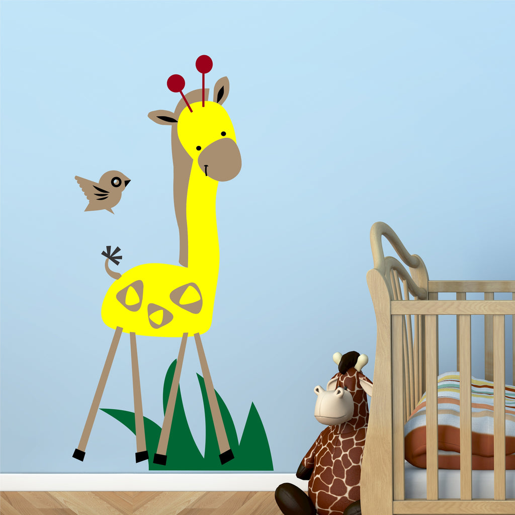 Nursery Zoo Giraffe Mural Kit | Vinyl Wall Decals | Wall Mural
