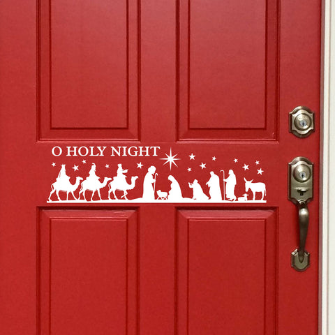Christmas Nativity Scene Decal | Vinyl Lettering | Holiday Door Decal