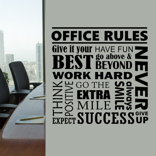 Office Rules Collage Quote Wall Lettering Vinyl Office