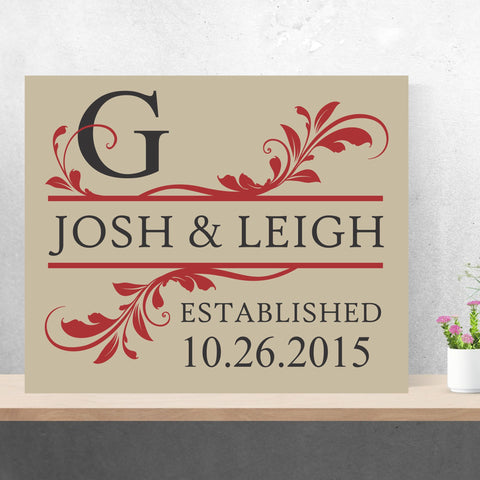 Save The Date Monogram Painting | Handpainted Canvas Wall Art