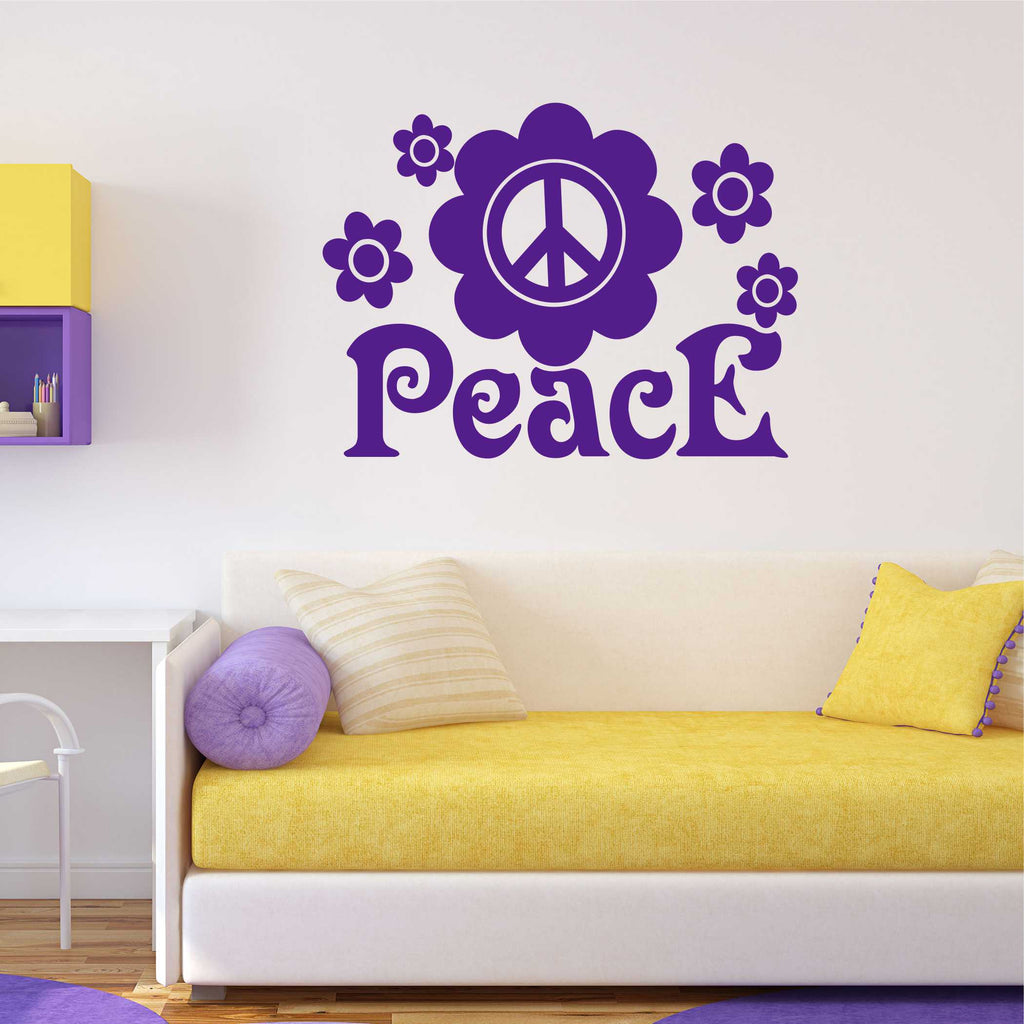 Flower Peace Sign Decal | Vinyl Wall Lettering | Wall Quotes