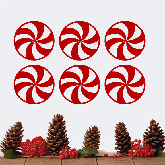 Set of 6 Peppermint Candies wall decal