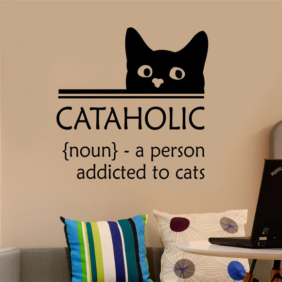 cataholic funny wall decal