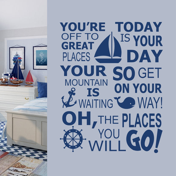Boy Wall Decal Nautical Theme The Places You Will Go Vinyl Lettering