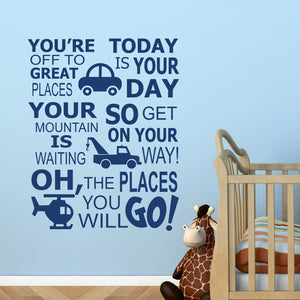 Transportation The Places You Will Go wall decal