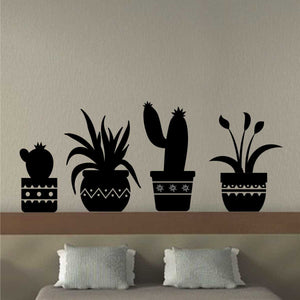 Wall Decal Cactus Plant Pottery Silhouettes