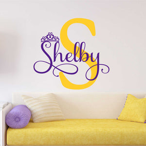 Wall Decal Girl Princess Crown Name