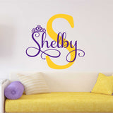 Princess Initial Decal | Vinyl Wall Lettering | Custom Crown Name