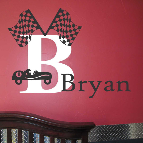 Wall Decal Boy Race Car Name Initial Set