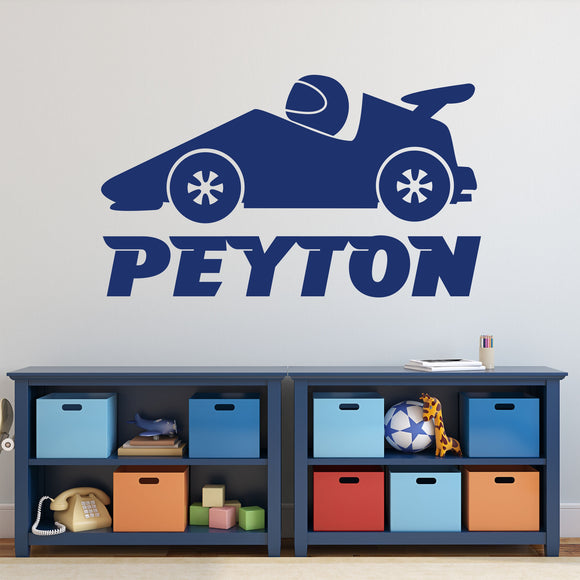 Custom Wall Decal Boy Name Race Car Transportation Theme Vinyl Lettering