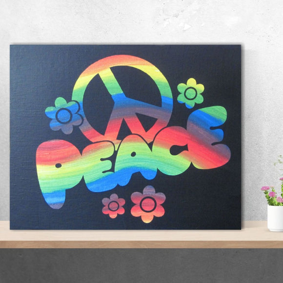Hand Painted Canvas Rainbow Peace Sign Bohemian Flower Wall Art