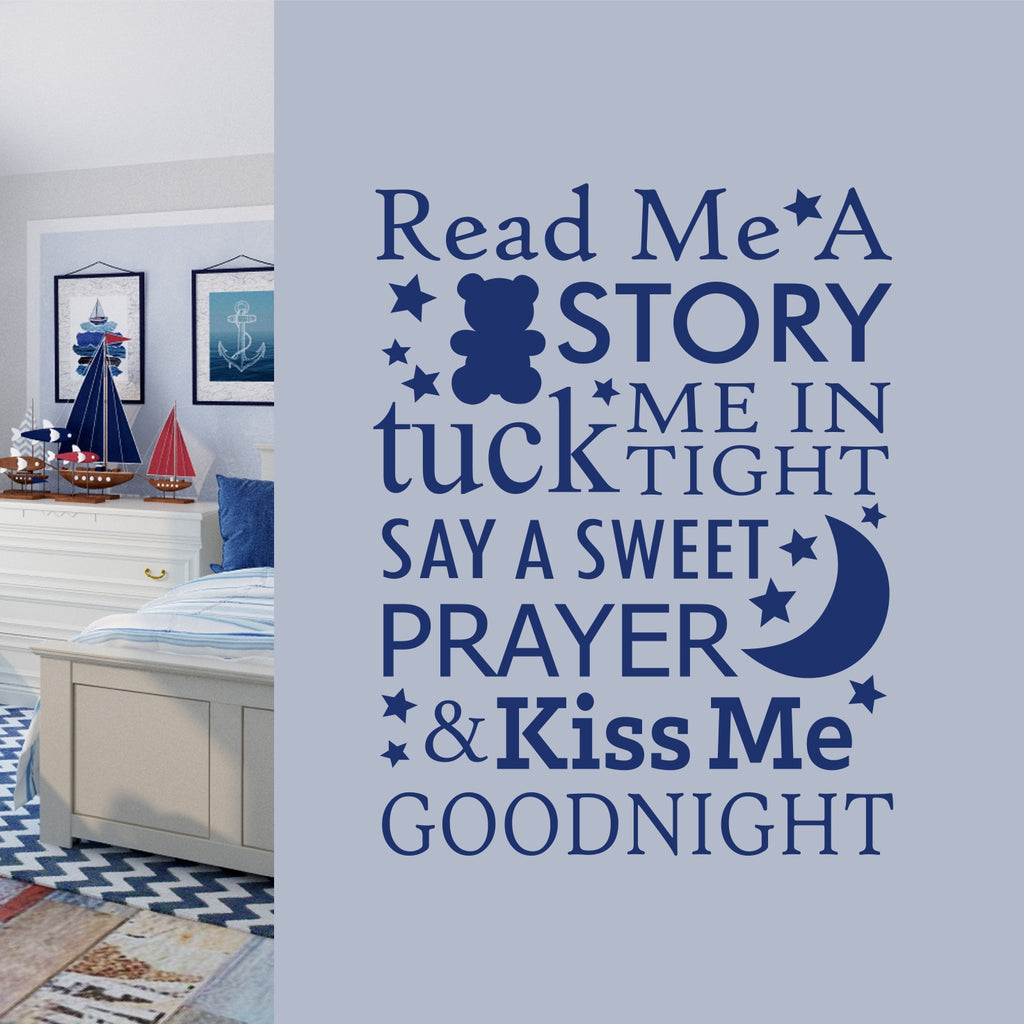 Read Story Kiss Goodnight Quote | Nursery Decal | Vinyl Lettering