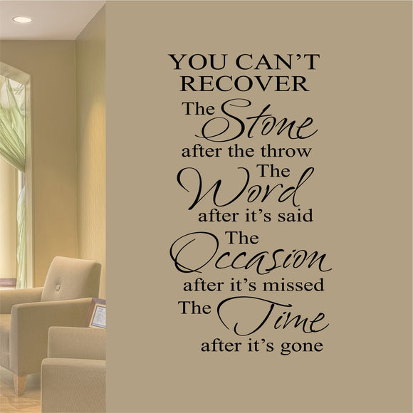 Wall Decal Can't Recover Stone Word Occasion