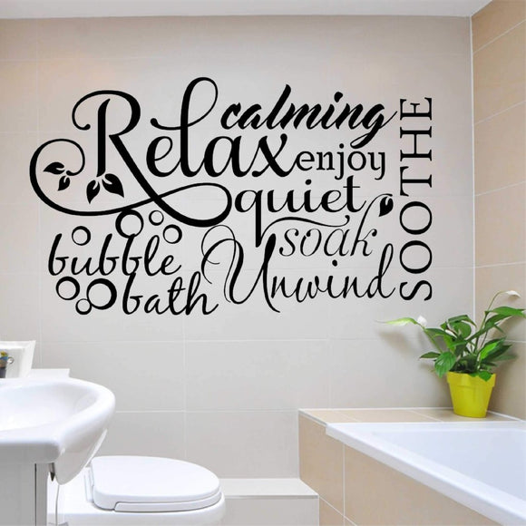 Bathroom Wall Decal Relax Word Collage Farmhouse Vinyl Lettering