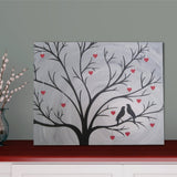 Birds in Heart Tree Silhouette Painting | Hand Painted Canvas Art