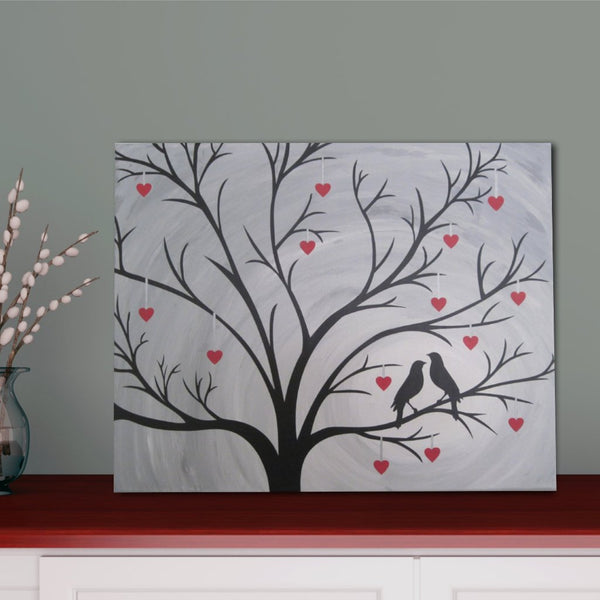 Birds In Heart Tree Silhouette Painting Hand Painted Canvas Art