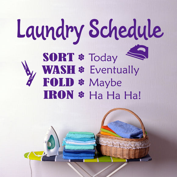 Laundry Room Wall Decal Funny Laundry Schedule Vinyl Lettering