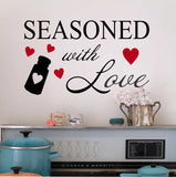 Seasoned with Love Hearts | Kitchen Wall Decal | Vinyl Lettering