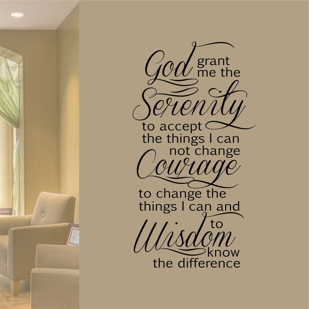 Serenity Prayer Decal | Vinyl Wall Lettering | Religious Wall Quotes