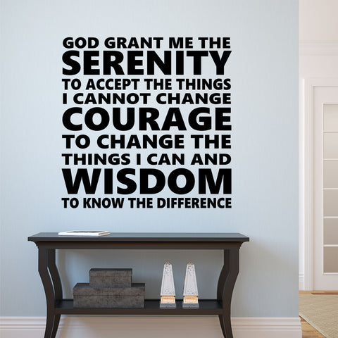 Subway Style Serenity Prayer | Religious Decals | Wall Lettering