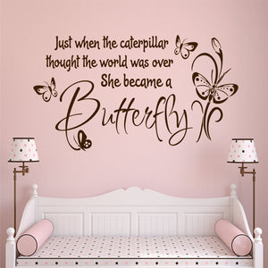 she became butterfly wall decal