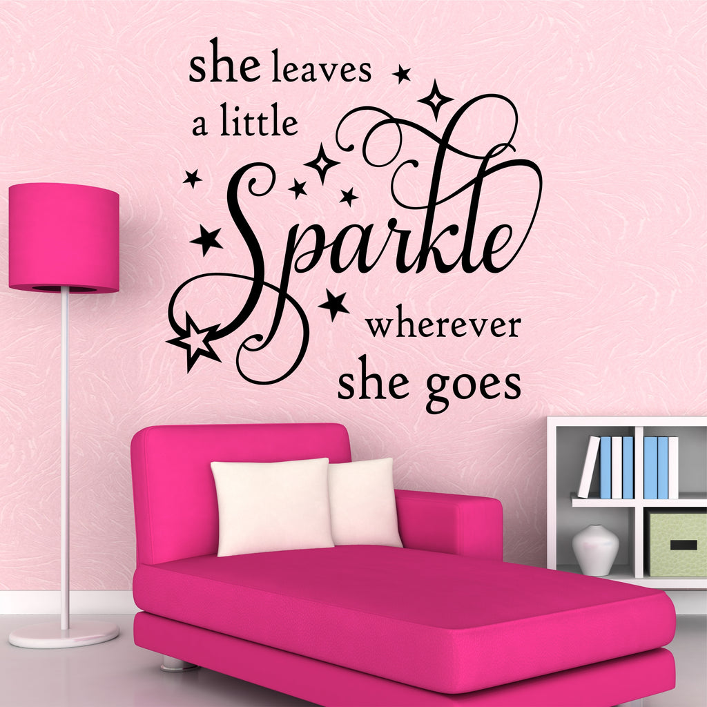 She Leaves Sparkle Quote Vinyl Wall Lettering Vinyl