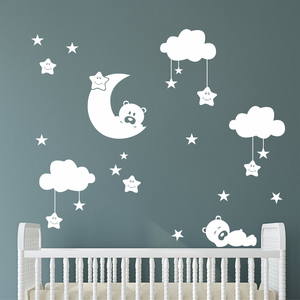 Nursery Sleepy Bears Cloud Kit | Vinyl Wall Mural | Wall Decals