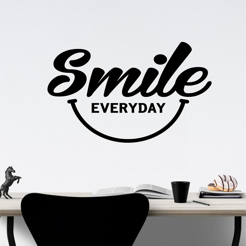 Smile Everyday Wall Art | Vinyl Wall Lettering | Happy Face Decal