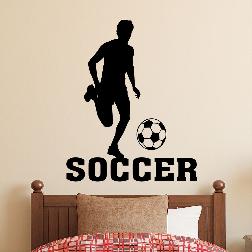 Soccer Player Silhouette | Sports Decals | Wall Lettering